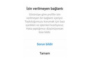 instagram izin verilmeyen bağlantı