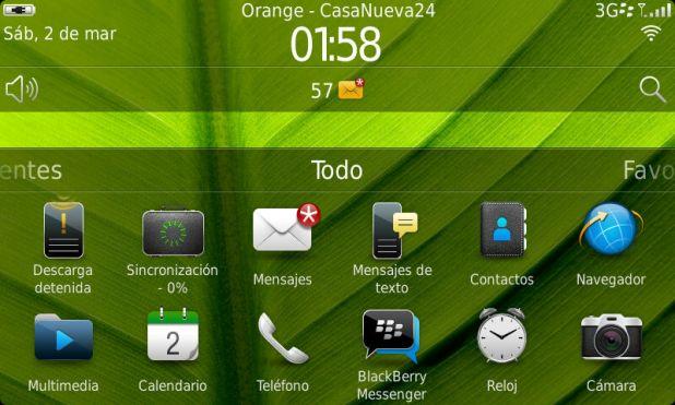 BlackBerry Torch 9860 - Pantalla principal