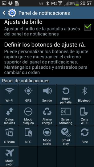 Panel desplegable del Galaxy S4