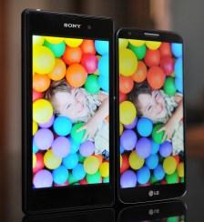Ángulos de visión: Xperia Z1 vs. LG G2
