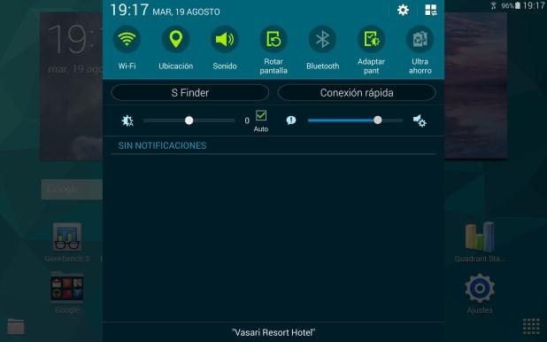 Barra notificaciones Galaxy Tab S