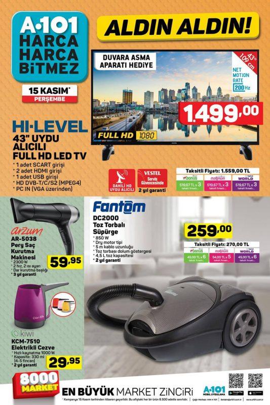 A101 15 Kasım Satışa Sunulan Diğer Ürünler