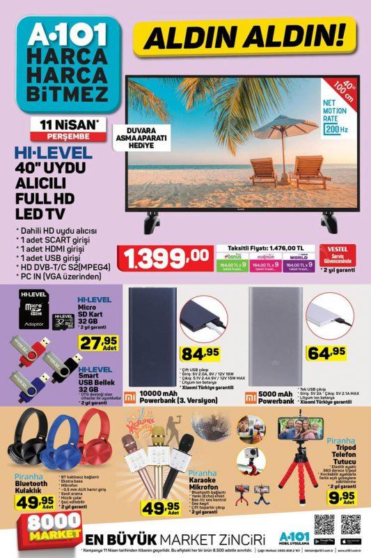 A101 11 Nisan 2019 Perşembe Televizyon ve Çevre Bileşenleri