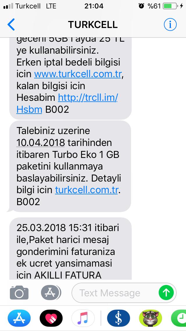 paket degisim bilgi mesaji