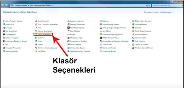 Windows 7 Klasör Seçenekleri