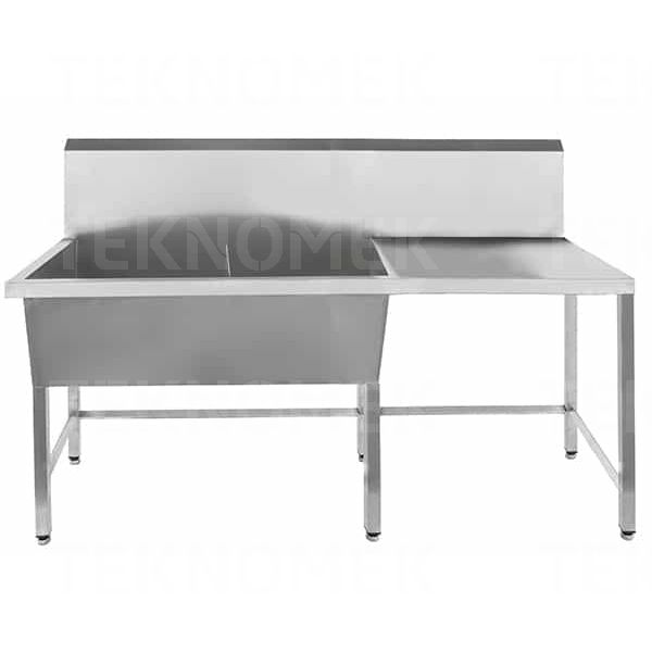 stainless steel double bowl utility sink with drainer