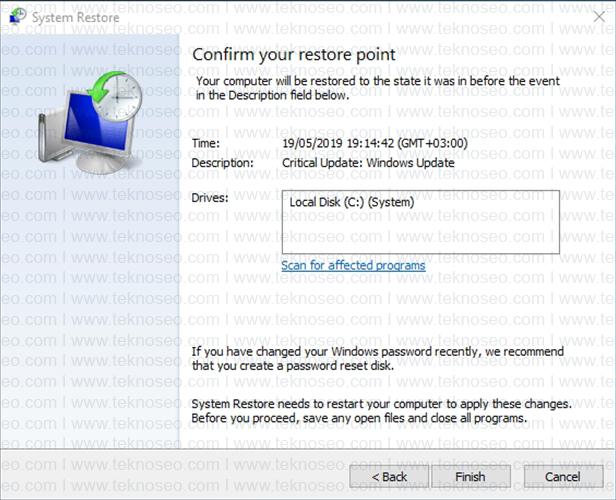 windows 10,sistem geri yükleme,system restore,sistem geri yükleme nasıl yapılır