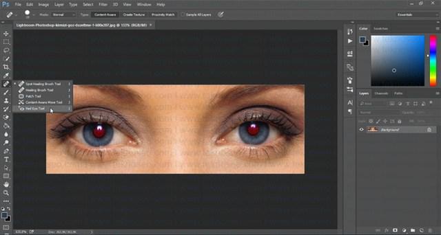 photoshop,kırmızı göz,red eye tool,eğitim