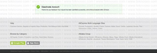 aliexpress,hesap silme,delete account,üyelik iptali,kalıcı hesap silme
