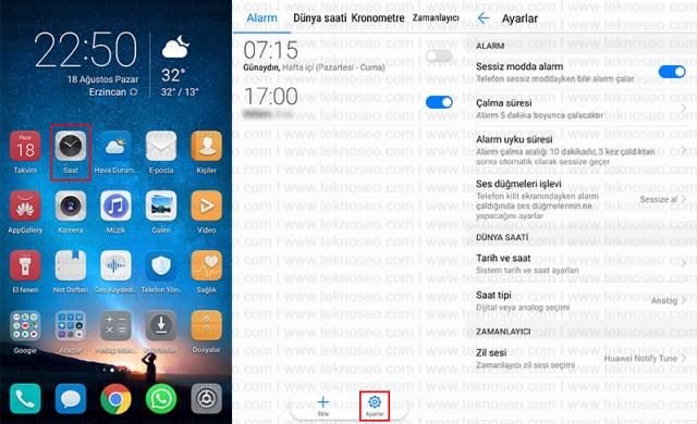 Huawei telefonlarda alarm ayarları