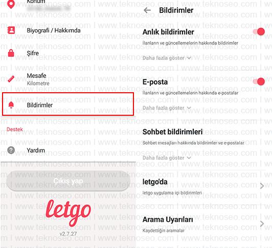 letgo,bildirimler,anlık bildirimler,e-posta bildirimleri,sohbet bildirimleri
