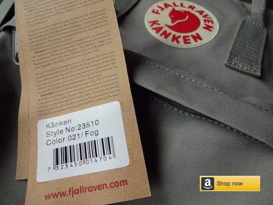 Fjallraven Kanken Classic backpack authentic tag