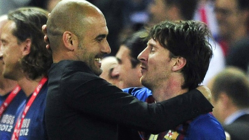 Guardiola y Messi.