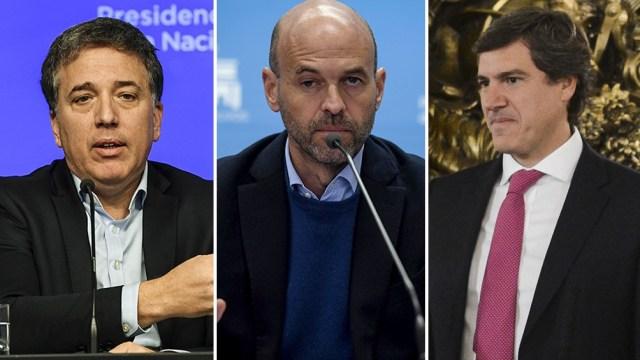 Nicolás Dujovne, Guillermo Dietrich y Bernardo Saravia Frías.