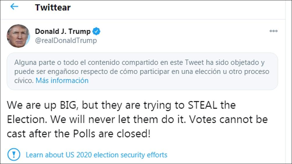 El cierre de las cuentas de Trump fue también por sus denuncias de fraude electoral en las presidenciales que perdió.