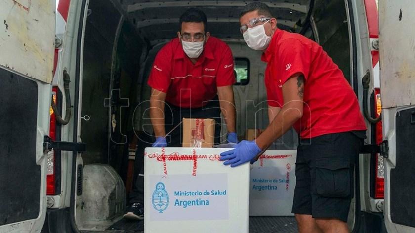 La llegada de las dosis a la provincia de Mendoza.