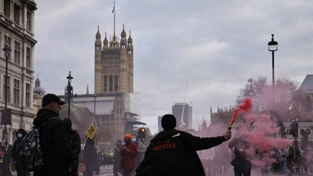 El Big Ben fue cortado al tráfico por un grupo de manifestantes contra un proyecto de ley.
