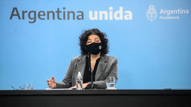 Vizzotti durante la conferencia de prensa en Casa de Gobierno.
