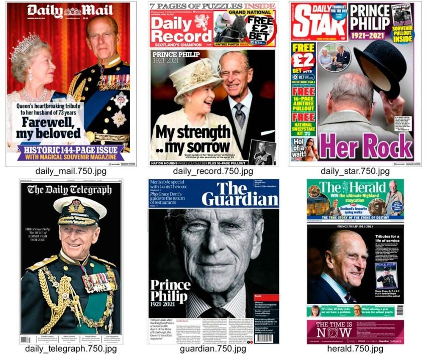 También los medios de prensa dedicaron sus principales espacios al príncipe Felipe y su muerte.