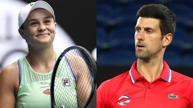 Los número uno del ránking mundial: Ashleigh Barty y Novak Djokovic.