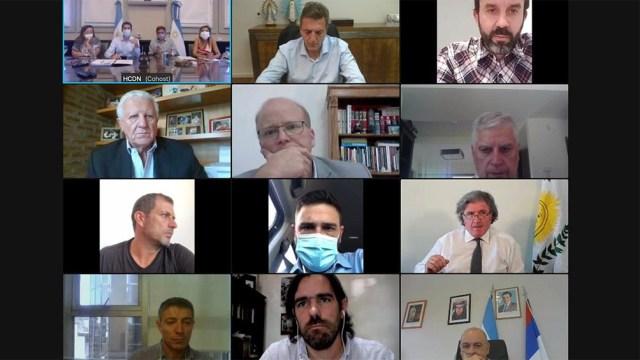 Reunión virtual con los presidentes de los bloques.