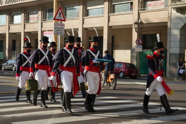 Soldados del Regimiento de Patricios, esta Semana de Mayo del 2021. (Foto: Lara Sartor/Télam).