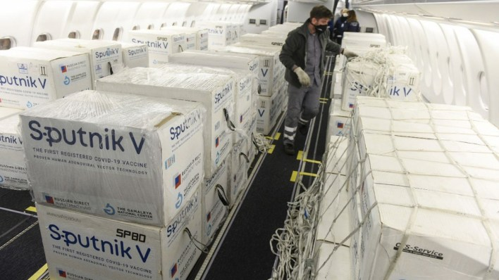 Desde Moscú llegó este lunes una partida de 609.965 dosis del componente 1 de la Sputnik V