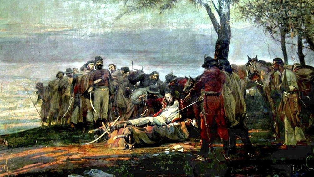 """""""La muerte de Güemes"""", la gran obra del pintos Antonio Alice, inspiradora de la producción de Encuentro."""