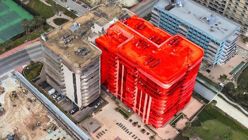 La zona coloreada con rojo es la que se derrumbó.