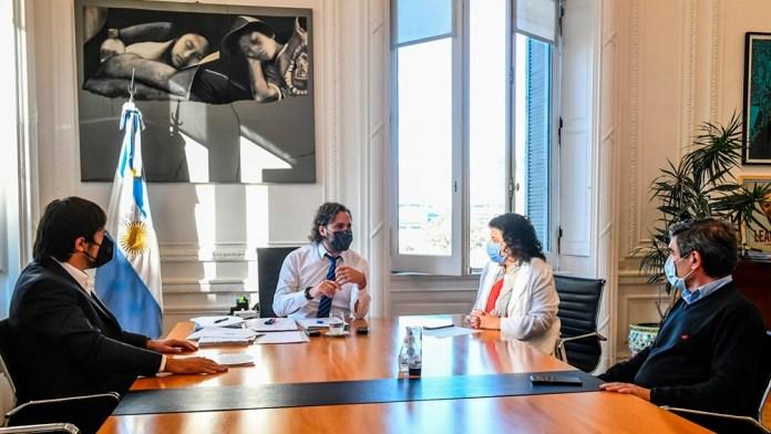 Reunión entre Santiago Cafiero, Carla Vizzotti, y sus pares de Ciudad y Provincia de Buenos Aires.