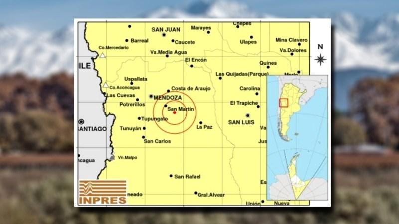 El epicentro del sismo se registró a 69 kilómetros al sureste de la ciudad de Mendoza.