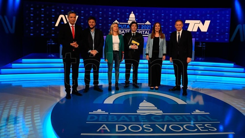 """Los candidatos, cara a cara en """"A dos voces"""" (Foto: Maximiliano Luna)."""