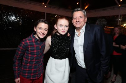 Noah Schnapp, Sadie Sink and Ted Sarandos, Chief Content Officer for Netflix