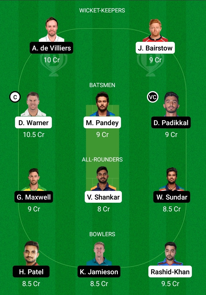 Dream 11 Prediction SRH vs RCB