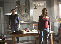 """The Vampire Diaries -- """"I Went to the Woods"""" -- Image Number: VD717a_0153.jpg -- Pictured (L-R): Matt Davis as Alaric and Elizabeth Blackmore as Valerie -- Photo: Bob Mahoney/The CW -- © 2016 The CW Network, LLC. All rights reserved."""