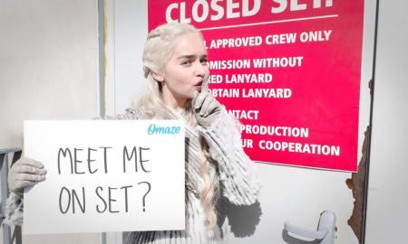 Emilia Clarke, sul set di Game of Thrones