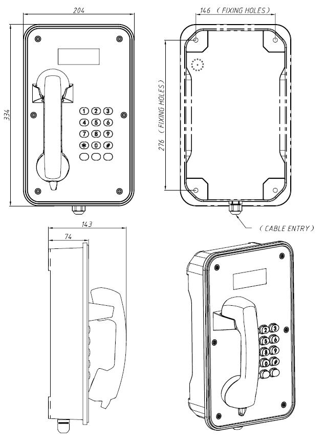 Drawing Telefono Industrial JR105-FK