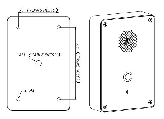 Drawing Telefono de Emergencia JR301-SC Montaje pared