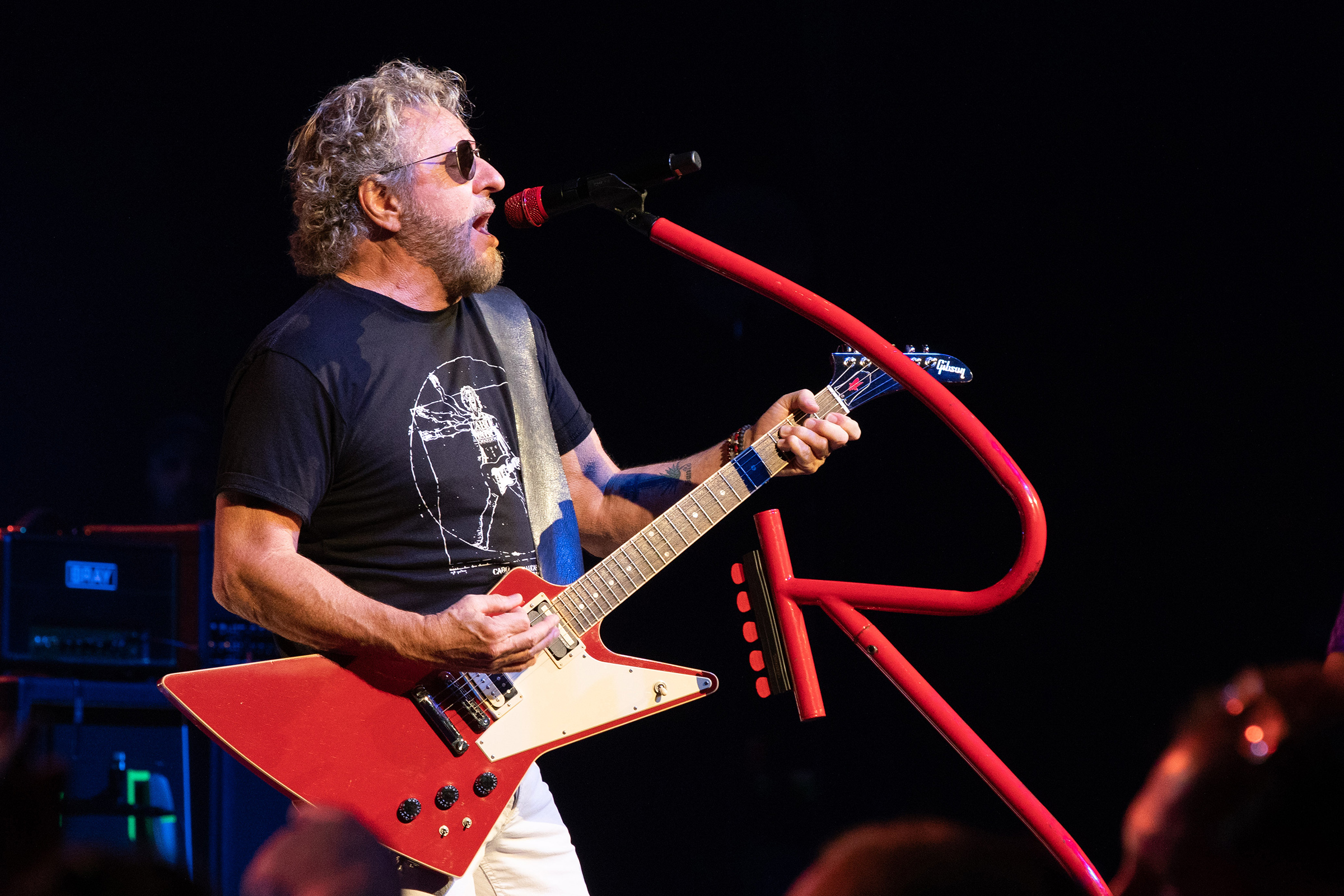 Sammy Hagar is seen performing with his Custom Shop TELEFUNKEN M80-WH RED dynamic microphone. Photos by Patrick McManaman.