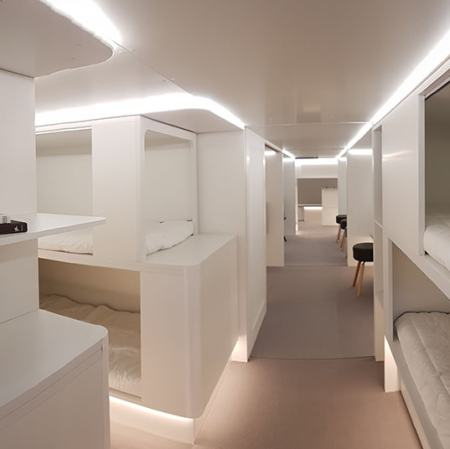 Economy passengers on board an A330 aircraft could soon be able to retire to a lower deck space with full flatbeds
