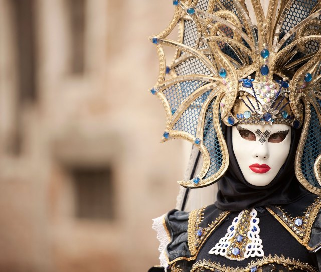 A Dramatic Costume From The Venice Carnival
