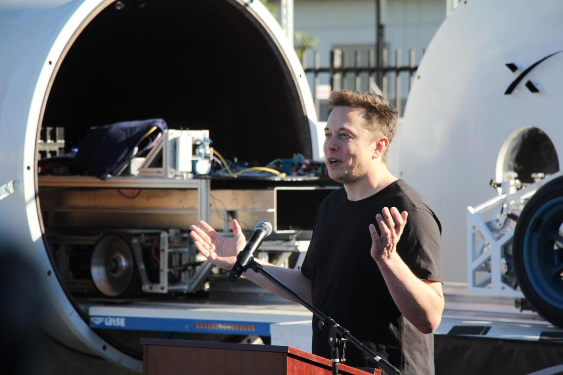 Elon Musk speaks at the SpaceX Hyperloop Pod Competition in 2017