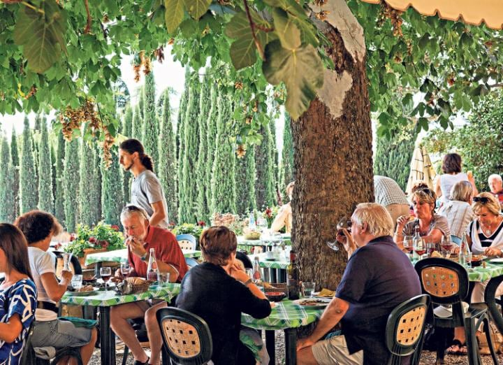Dining in a trattoria in the hamlet of Volpaia