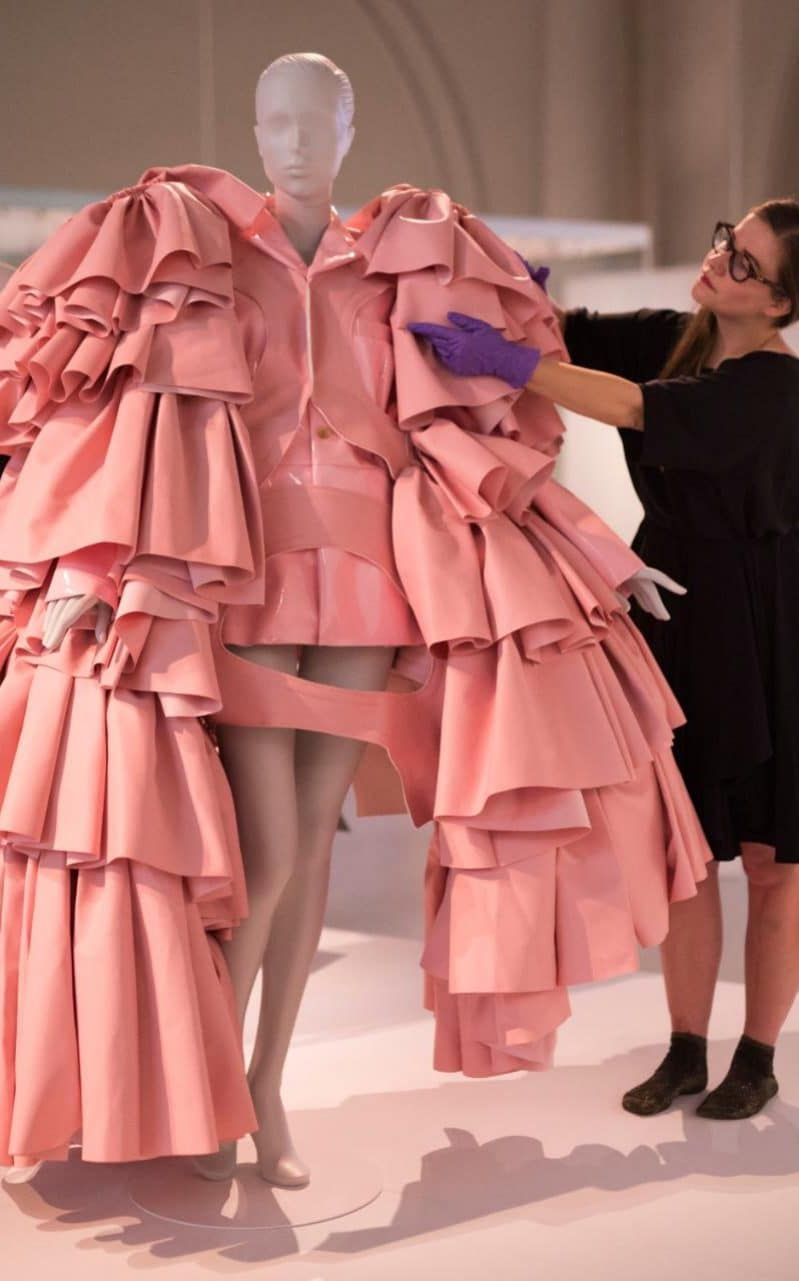 Dress made of polyurethane leather by Res Kawakubo for Comme des Garcons, Tokyo