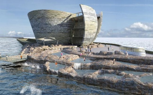 What the world's first tidal lagoon power plant may look in Swansea Bay