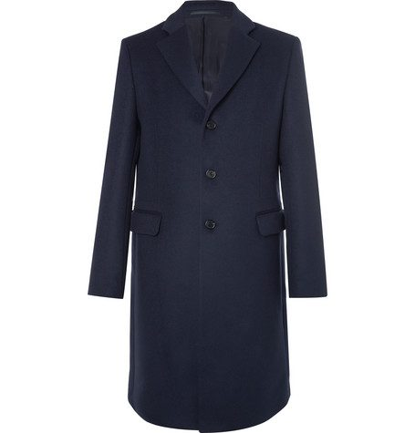 Slim fitted wool blend coat style