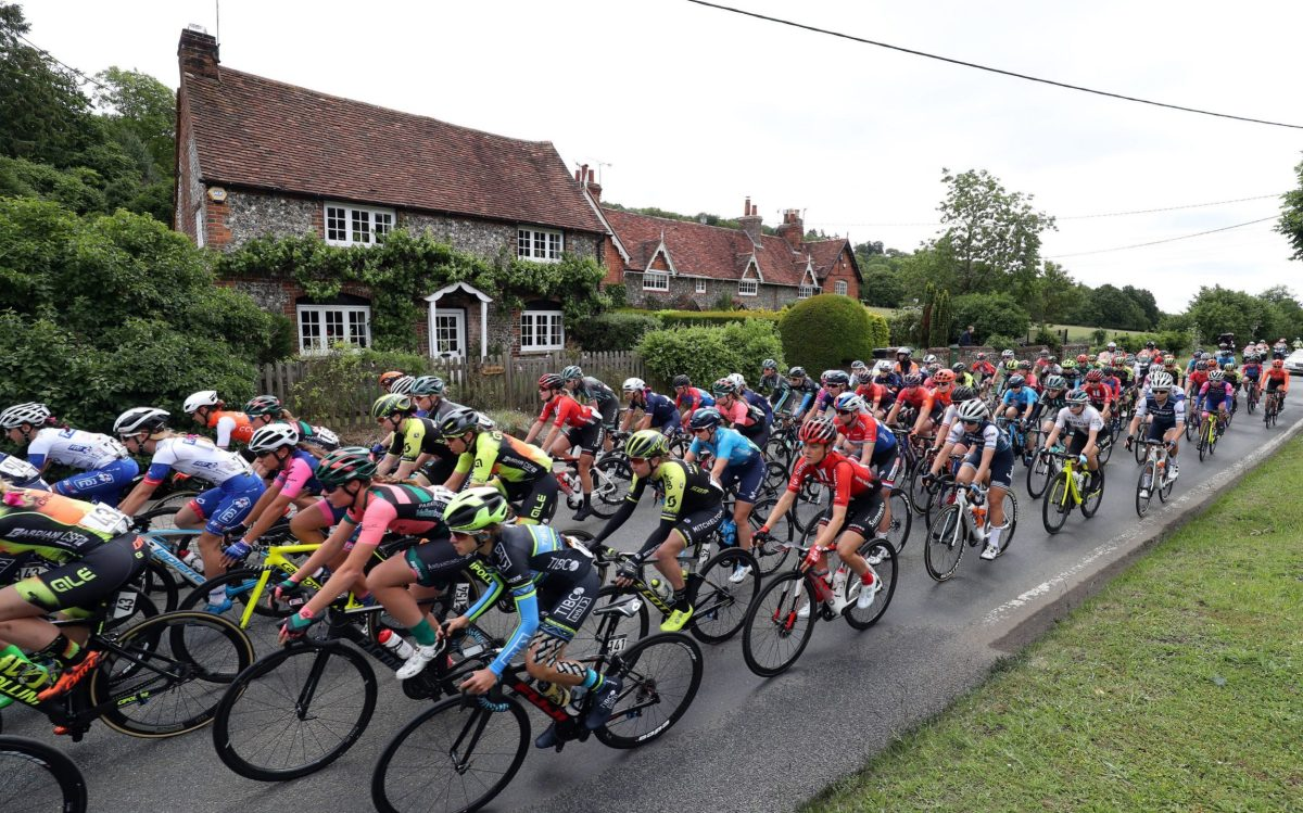 The peloton pass through the village of Middle Assendon in South Oxfordshire during stage three the 2019 OVO Energy Women's Tour