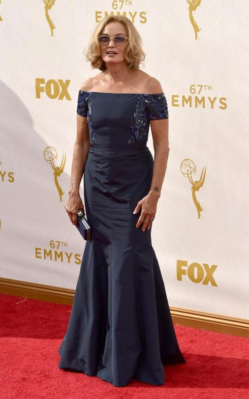 In an off-the-shoulder J. Mendel dress, Jessica Lange outshone her younger peers at the Emmys