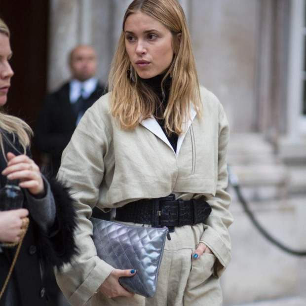 Danish star Pernille Teisbaek favours metallics to add another dimension to monochrome looks