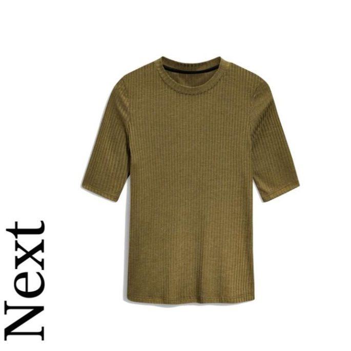 Khaki rib short sleeve top, £12, Next